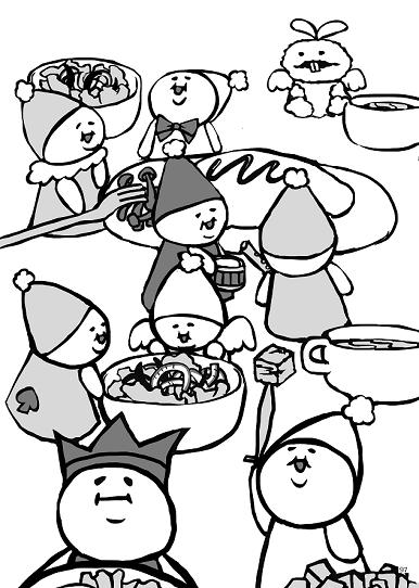 食卓の上の人形たち