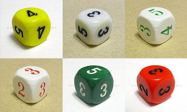 6面体、出目が2-3-3-4-4-5のサイコロ