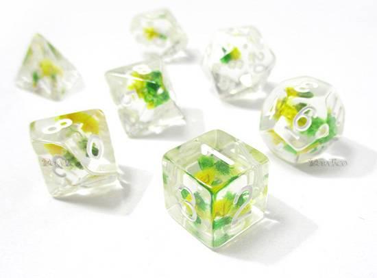フラワーダイス【緑&黄色】 多面体サイコロ7個セット